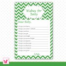 Printable Chevron Green Wishes for Baby Card - Baby Shower Custom