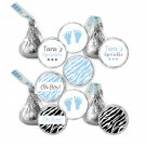 216 Hershey Kiss stickers - Personalized Jungle Baby Feet Boy Baby Shower Labels