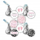 216 Hershey Kiss stickers - Personalized Jungle Baby Feet Girl Baby Shower Labels