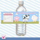 Printable Personalized Cute Barn Water Bottle Label Wrappers - Baby Shower Birthday Party