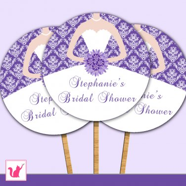 Printable Personalized Bridal Shower Damask Purple Cupcake Topper