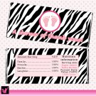 30 Pink Zebra Thank You Candy Bar Wrapper - Baby Shower
