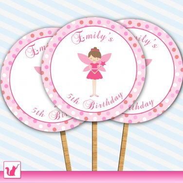 20 Personalized Cute Pink Fairy Cupcake Topper - Birthday Party