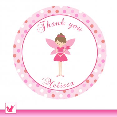 Printable Personalized Cute Pink Fairy Thank You Tags - Birthday Party