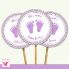 Printable Personalized Cute Chevron Lime Green Purple Baby Feet Cupcake Topper - Baby Shower Party