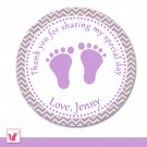 40 Personalized Cute Chevron Lime Purple Baby Feet Thank You Tags - Baby Shower Party