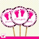 20 Personalized Cute Zebra Hot Pink Baby Feet Cupcake Topper - Baby Shower Party