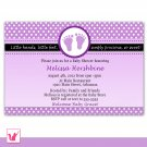 30 Personalized Purple Polka Dots Baby Shower Invitations