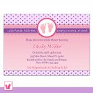Printable Personalized Purple Pink Polka Dots Baby Shower Invitation