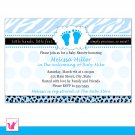 Printable Personalized Zebra Leopard Blue Polka Dots Baby Shower Invitation