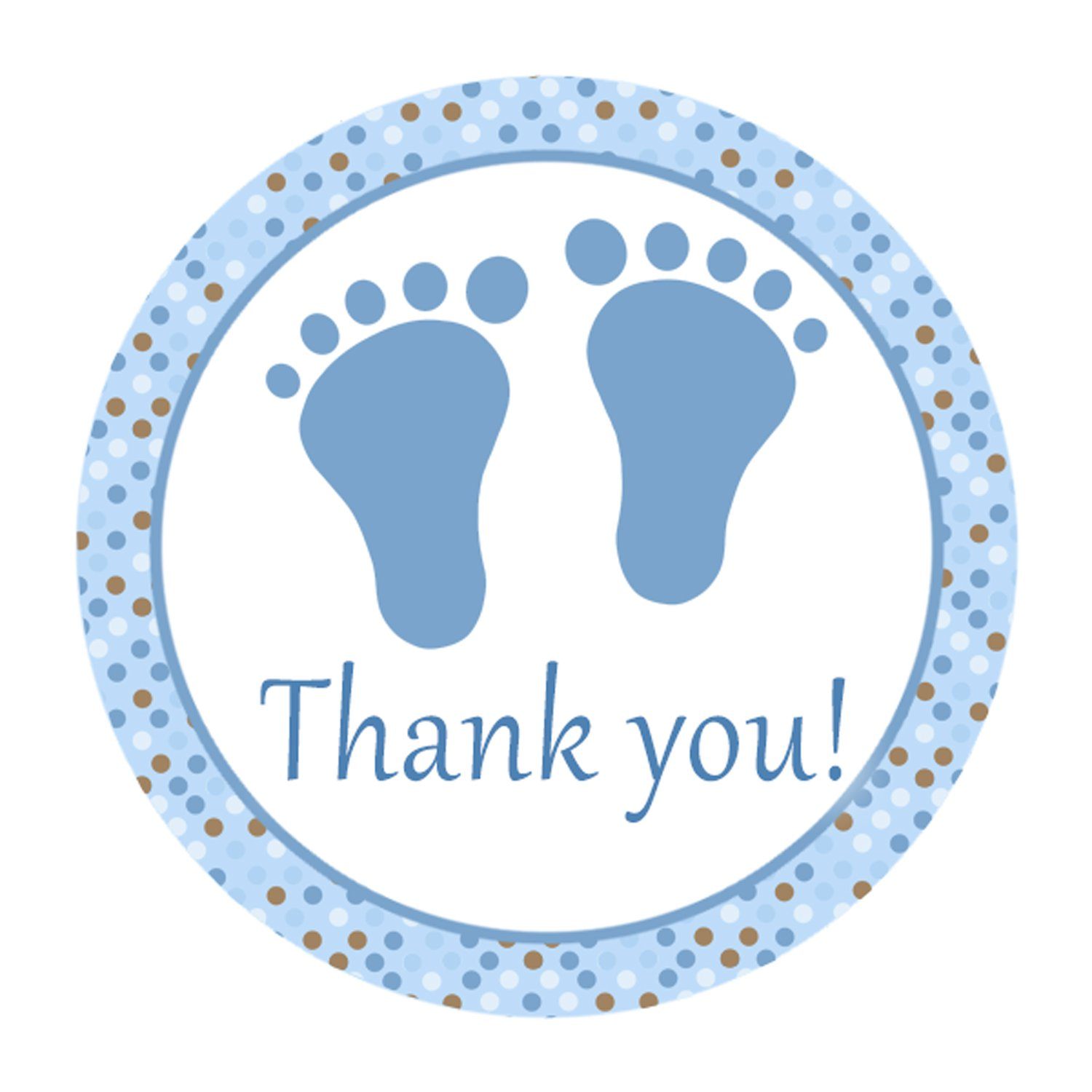 ... Cute Blue Brown Polka Dots Baby Feet Thank You Tags Shower Party