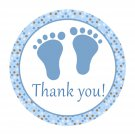 40 Personalized Cute Blue Brown Polka Dots Baby Feet Thank You Tags - Baby Shower Party