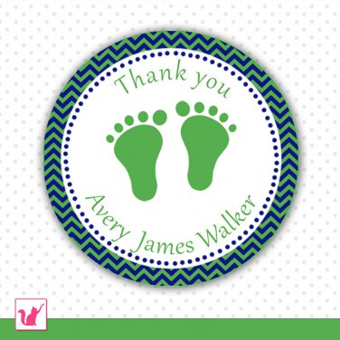 40 Personalized Chevron Kelly Green Navy Blue Baby Feet Thank You Tags - Baby Shower Party