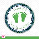 Printable Personalized Chevron Kelly Green Navy Blue Baby Feet Thank You Tags - Baby Shower Party