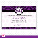 Printable Personalized Damask Purple Birthday Anniversary Party Invitation
