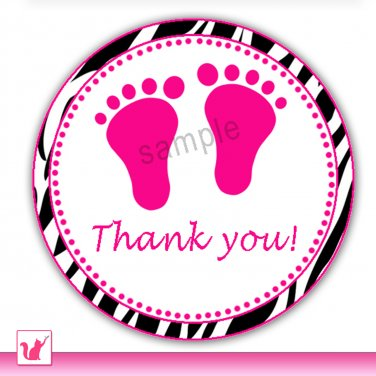 40 Personalized Zebra Hot Pink Baby Feet Thank You Tags - Baby Shower Party