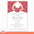 Printable Personalized Damask Coral Purple Bridal Shower Invitations