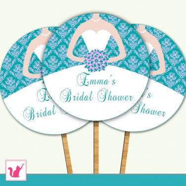 Printable Personalized Bridal Shower Damask Teal Lavender Cupcake Topper