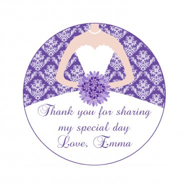 Printable Personalized Damask Purple Thank You Tags 3 - Bridal Shower