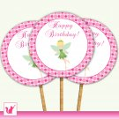 20 Personalized Green Fairy Polka Dots Cupcake Topper - Birthday Party