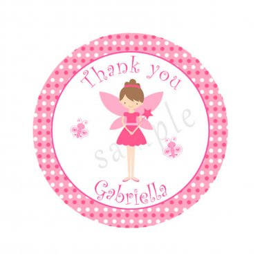 40 Personalized Cute Pink Fairy Thank You Tags - Birthday Party
