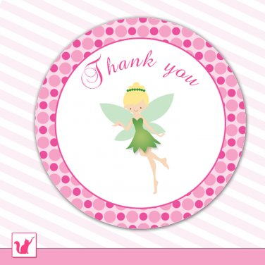 40 Personalized Cute Green Fairy Thank You Tags - Birthday Party