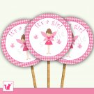 Printable Pink Fairy Polka Dots Cupcake Topper - Baby Shower Party