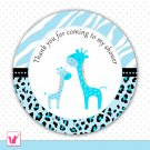 Printable Cute Blue Giraffe Thank You Tags - Baby Shower Party