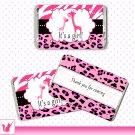 90 Personalized Cute Pink Zebra Leopard Design Giraffe Mini Candy Wrapper - Baby Shower