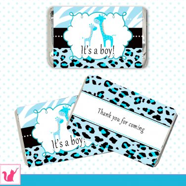 90 Personalized Cute Blue Zebra Leopard Design Giraffe Mini Candy Wrapper - Baby Shower