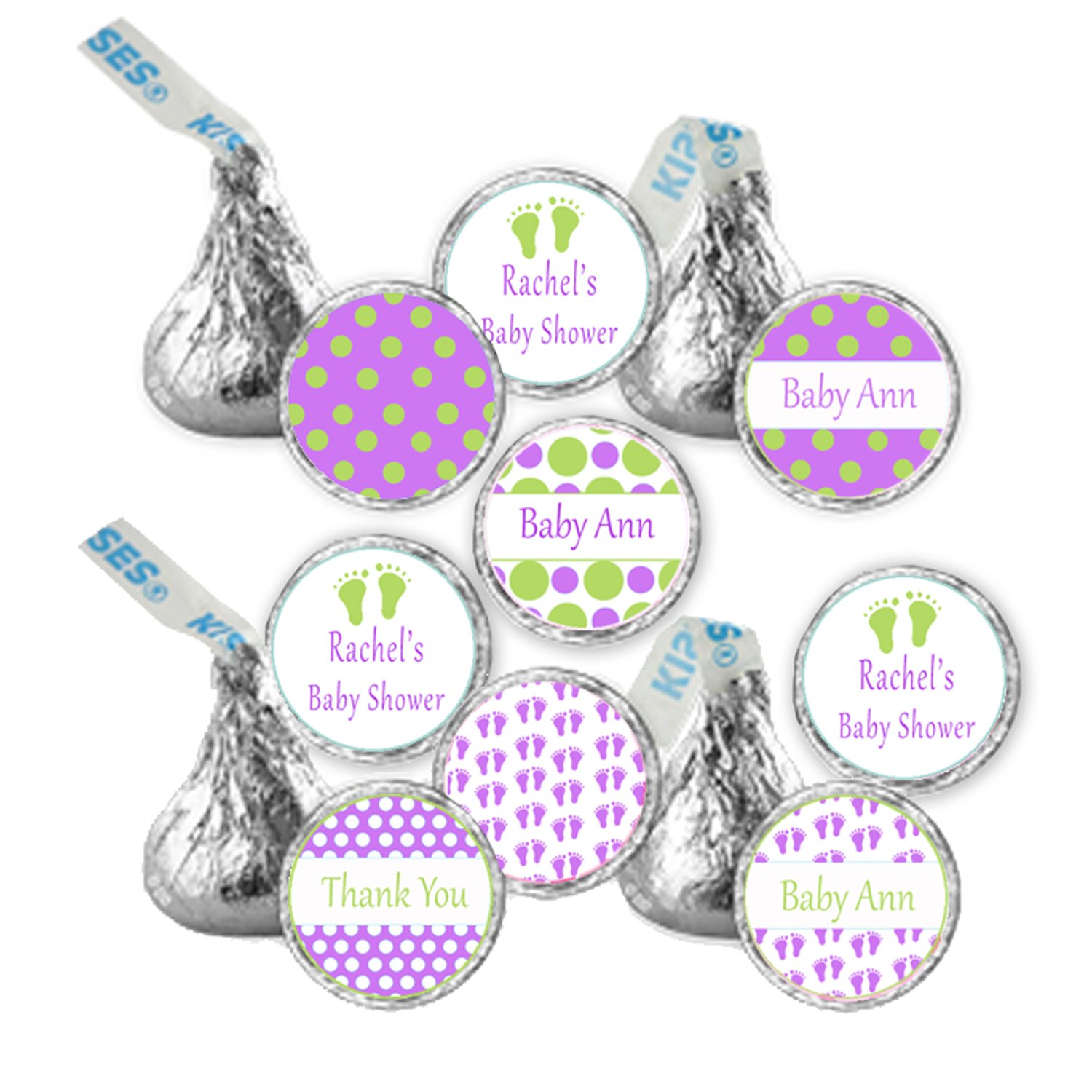 Hershey kiss stickers printable personalized polka dots baby feet girl baby shower labels