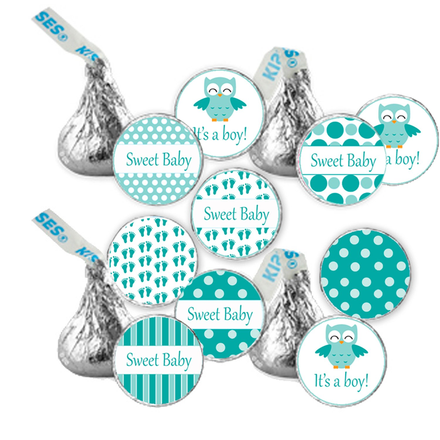 Hershey kiss stickers printable personalized cute green owl baby shower boy labels