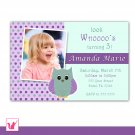 Printable Personalized Adorable Purple Lime Owl Photo Birthday Party Invitation