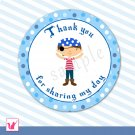 40 Personalized Cute Blue Pirate Thank You Tags - Birthday Party