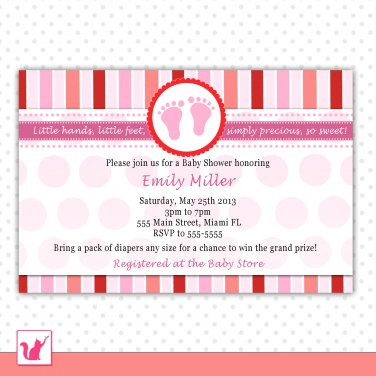 Printable Personalized Cute Pink Red Stripes Baby Feet - Baby Shower Invitations