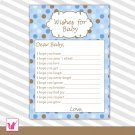 Printable Blue Brown Polka Dots Wishes for Baby Card - Baby Shower Custom
