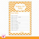 Printable Chevron Orange Wishes for Baby Card - Baby Shower Custom