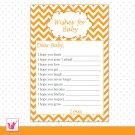 30 Chevron Orange Wishes for Baby Card - Baby Shower Custom