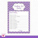 30 Chevron Purple Grey Wishes for Baby Card - Baby Shower Custom