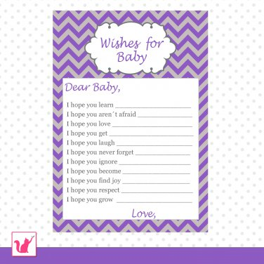 30 Chevron Purple Grey Wishes for Baby Card - Baby Shower Custom
