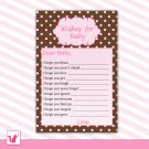 Printable Pink Polka Dots Brown Background Wishes for Baby Card - Baby Shower Custom