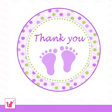 Printable Cute Green Purple Baby Feet Thank You Tags - Baby Shower Party