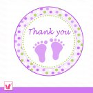 40 Personalized Cute Green Purple Baby Feet Thank You Tags - Baby Shower Party