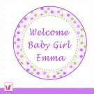 Printable Personalized Cute Green Purple Welcome Tag - Baby Shower Party