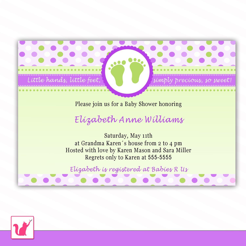 30 Personalized Cute Purple Green Polka Dots Baby Feet Shower Invitations