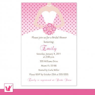 Printable Personalized Pink Polka Dots Bride - Bridal Shower Invitations