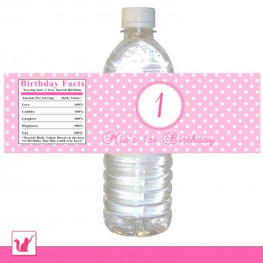 25 Personalized Pink Number Polka Dots Water Bottle Label Wrappers - Birthday Party