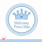 Printable Personalized Prince Blue White Polka Dots Welcome Tag - Baby Shower Party