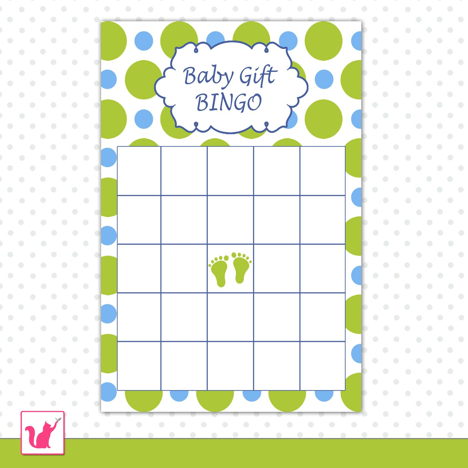 baby shower party gift bingo card blue green polka dots baby feet
