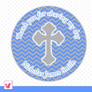 40 Personalized ChristeningThank You Tags - Blue Grey Chevron Customizable For Any Occassion